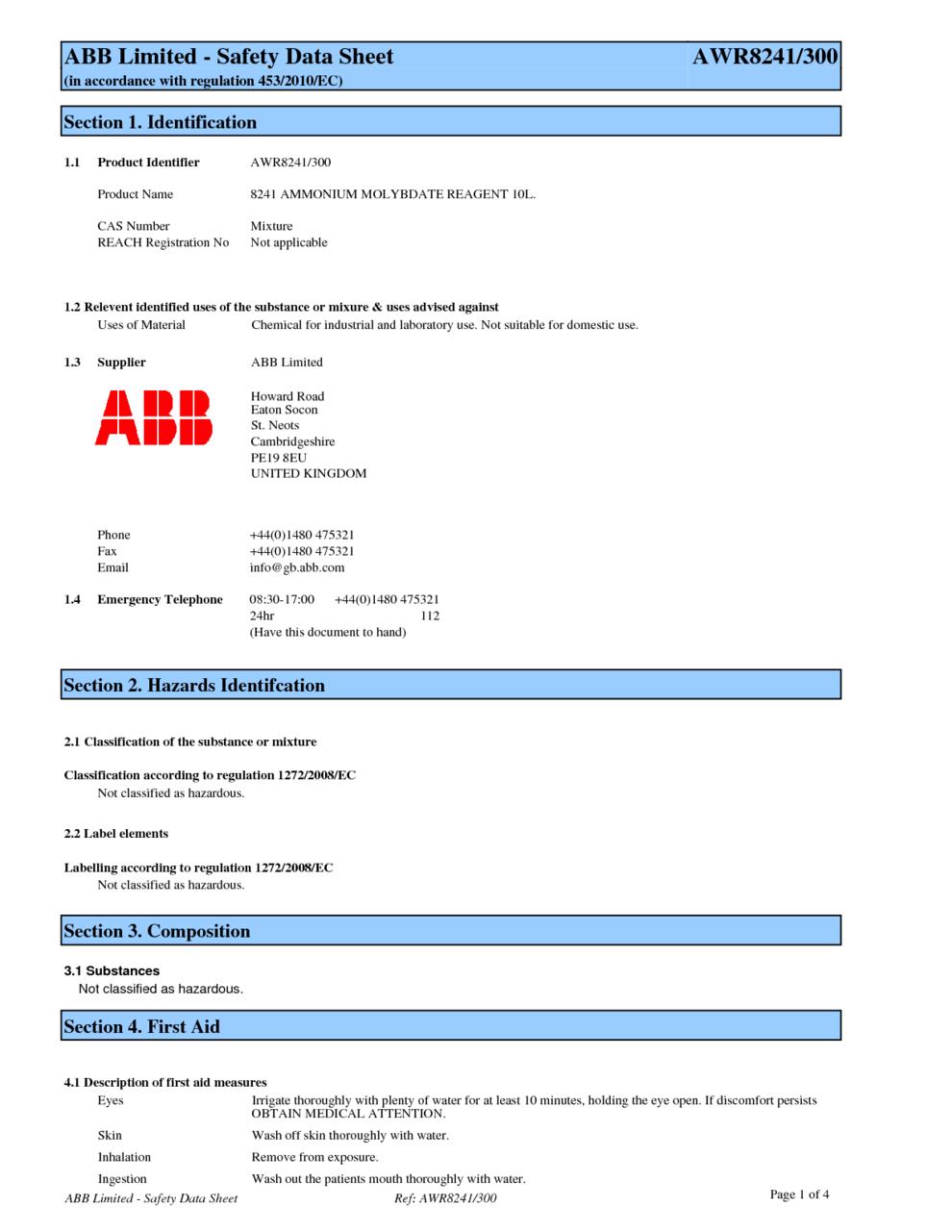 8241 Ammonium Molybdate Reagent 10l Msds Download