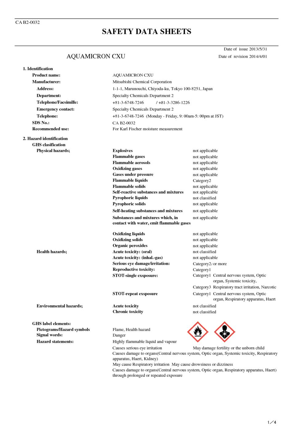 AQUAMICRON CXU MSDS Download