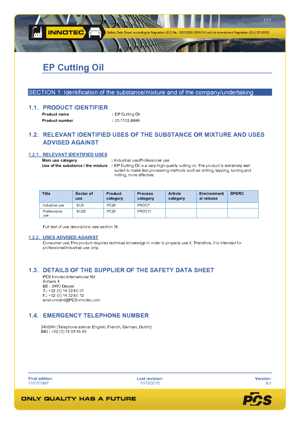EP Cutting Oil MSDS Download