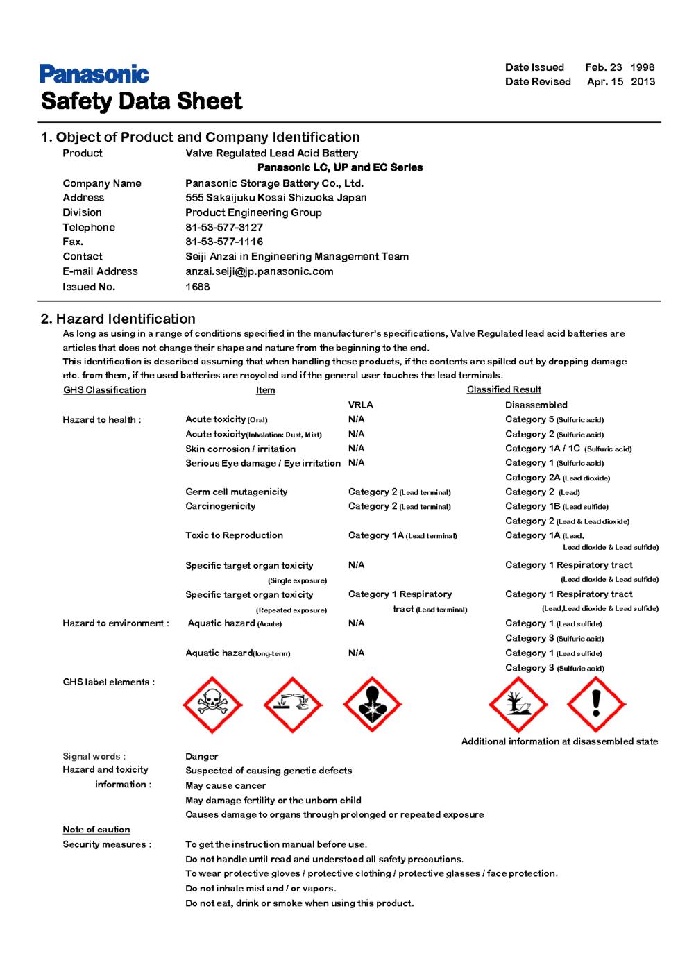 Lead-Acid Battery MSDS Download